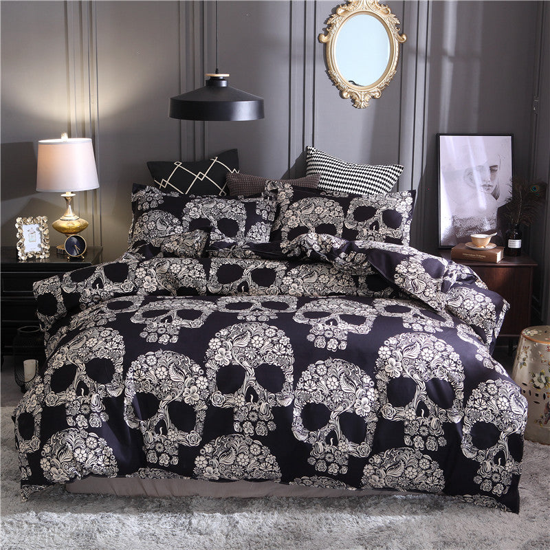 Seamless White Flowers Sugar Skull Duvet Covers Bedding Sets
