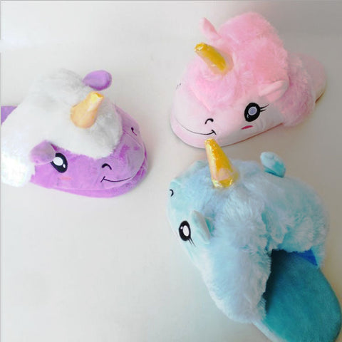 Smiling Unicorn Slippers Colorful Plush House Shoes