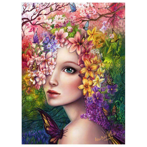 Spring Fairy Girl Flowers Embroidery Paintings 5D Full Drill Diamond Painting