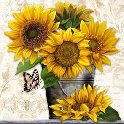 Sunflowers in Barrel with Butterfly Diamond Painting Art Kits