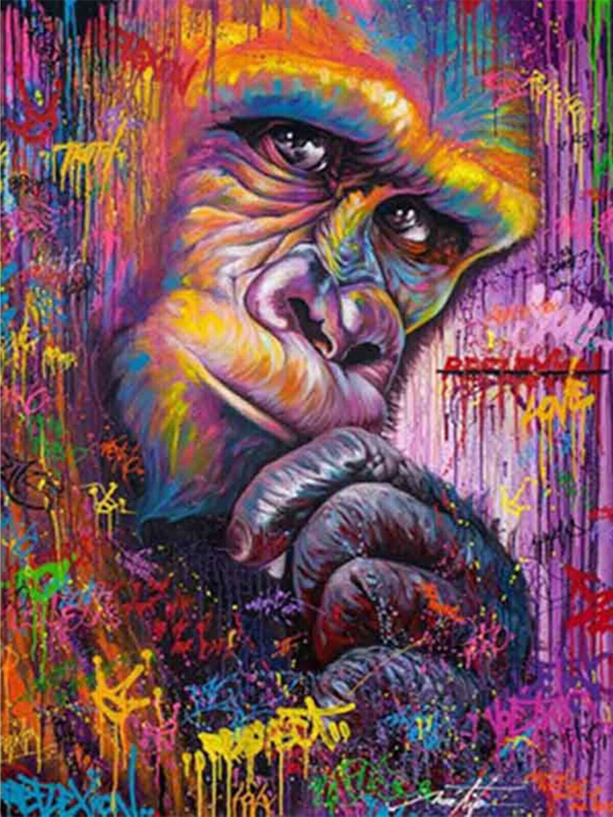 Thinking Animal Gorilla Color Painting Monkey Round Diamond Painting Art Kits