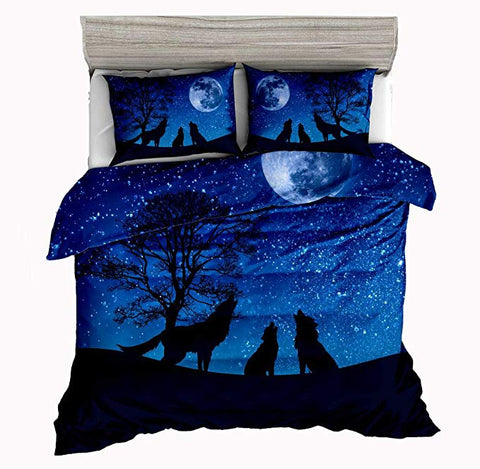 Three Wolf Families Howling Blue Moon Night Duvet Covers Bedding Sets