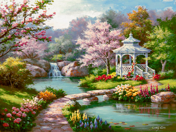 Watercolor Spring Tree Garden Diamond Painting Kits