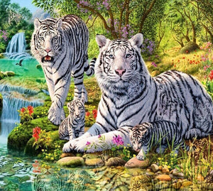 White Tiger in Woods Round Diamond Painting Art Kits