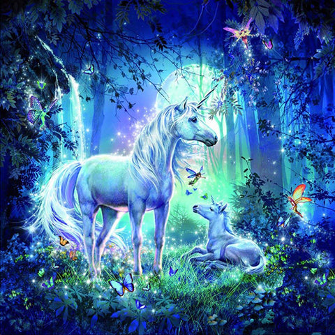 White Unicorn in Fantasy Forest Diamond Painting Art