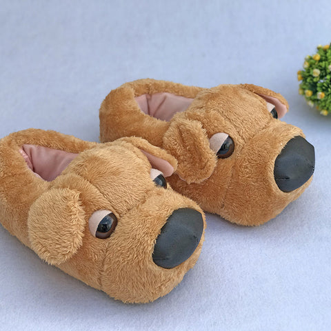 Yellow Puppy Slippers Plush Dog House Shoes
