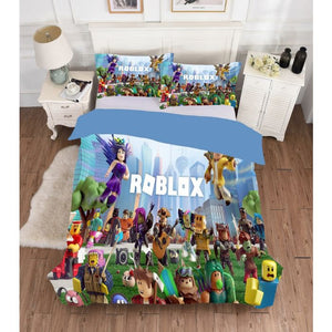 Lots Game Characters Roblox Minecraft Kids Bedding Set