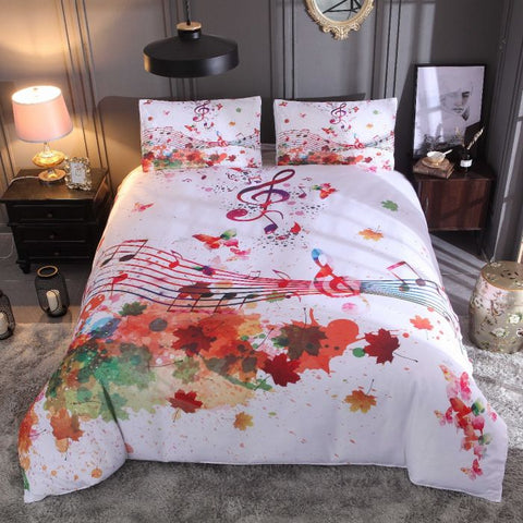Watercolor Colorful Maple Leaves with Music Note Bedding Sets