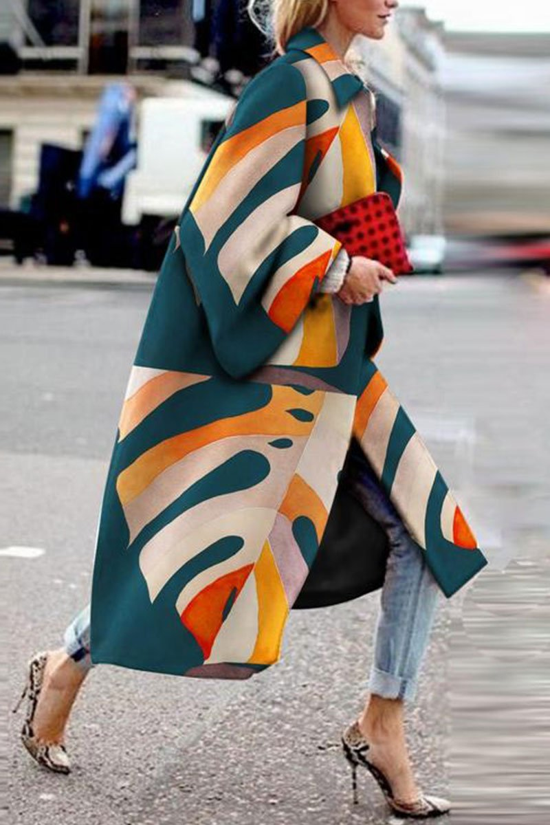 Fashion Printed Trench Color Coat