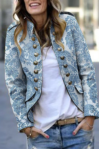 Fashion Print Long Sleeve Suit Coat