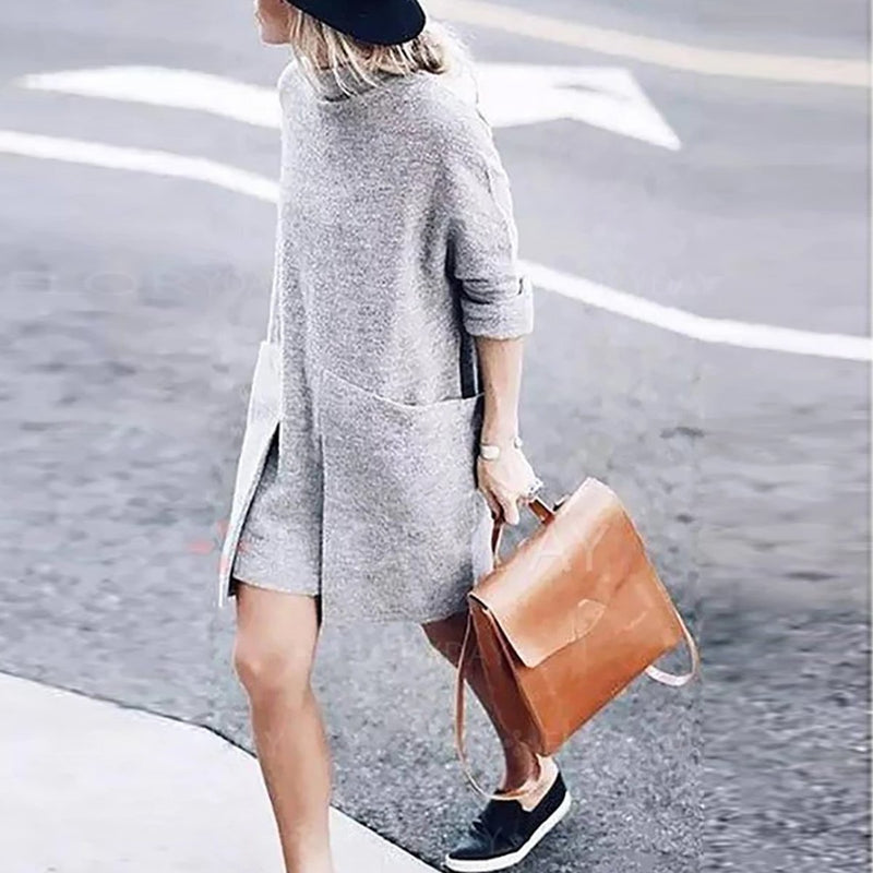 High Collar Pullover Long Knit Shirts