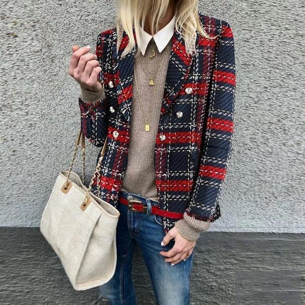 Warm Casual Loose Plaid Woolen Jacket