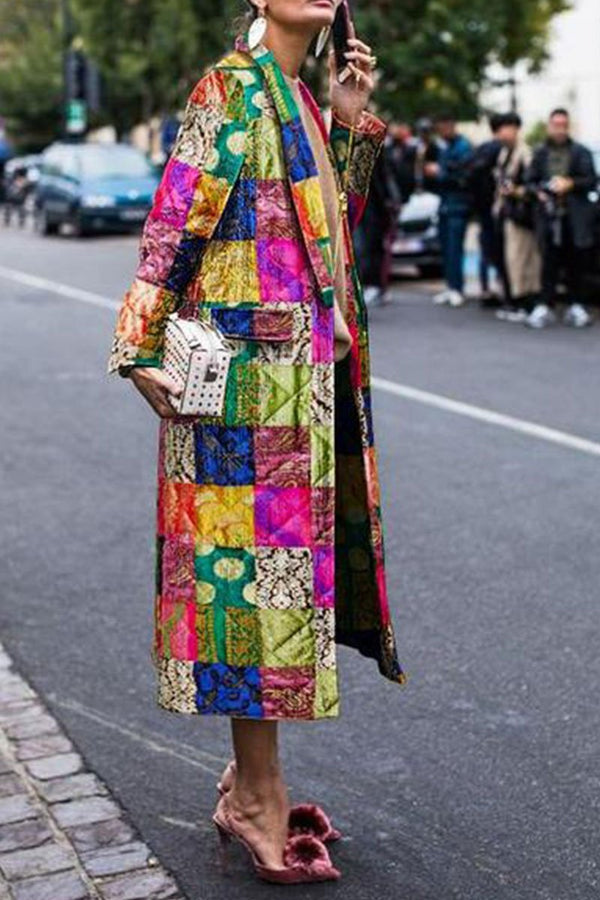Stylish Vintage Square Printed Coat