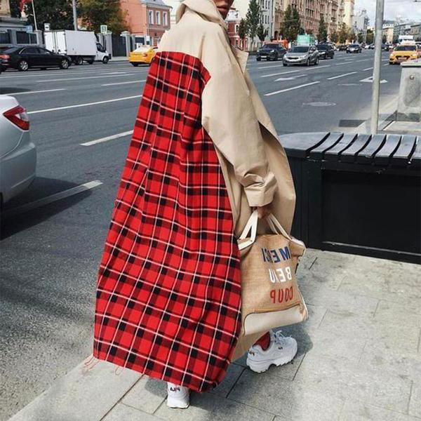 Fashion Plaid Patchwork Long Sleeve Outerwear