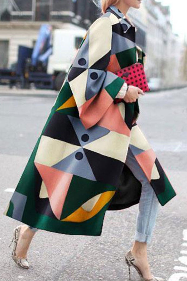 Fashion Geometry Printed Colorful Loose Woolen Long Coat
