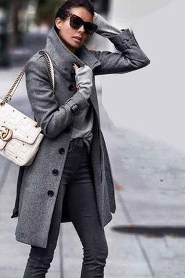 Fashion Pure Color Long Sleeve Coat