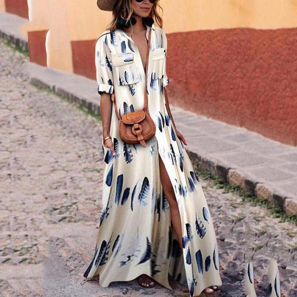 Button Down Collar Stripes Half Sleeve Maxi Casual Dresses