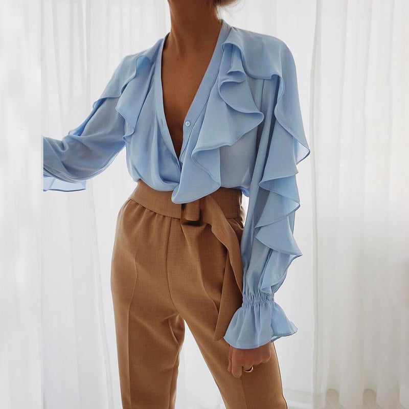 Solid Color V-Neck Flared Sleeve Ruffled Shirt Top