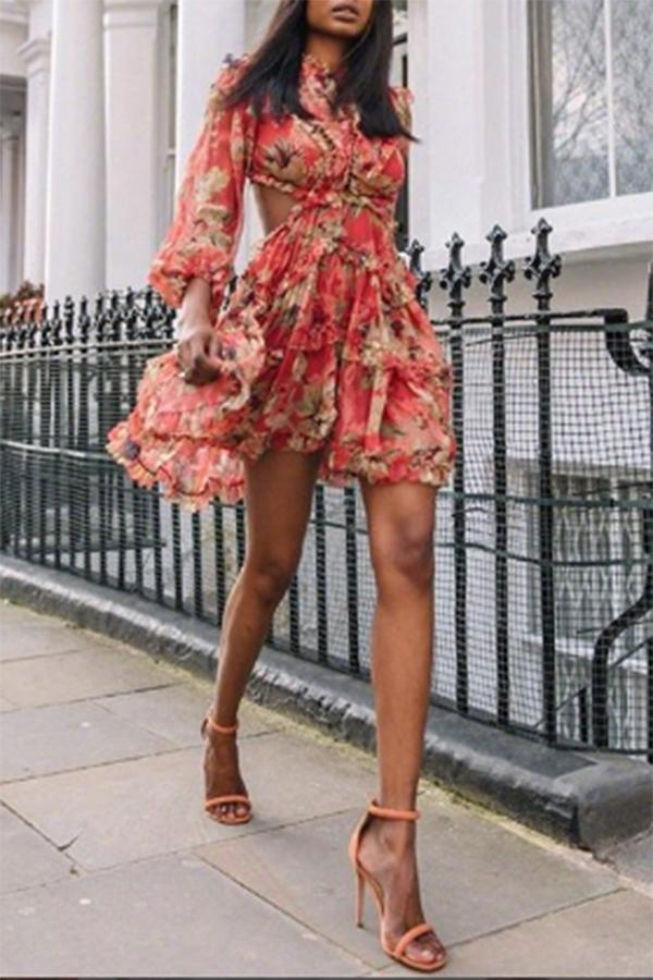 Sexy Printed Colour Chiffon Bare Back Bubble Sleeves Dress