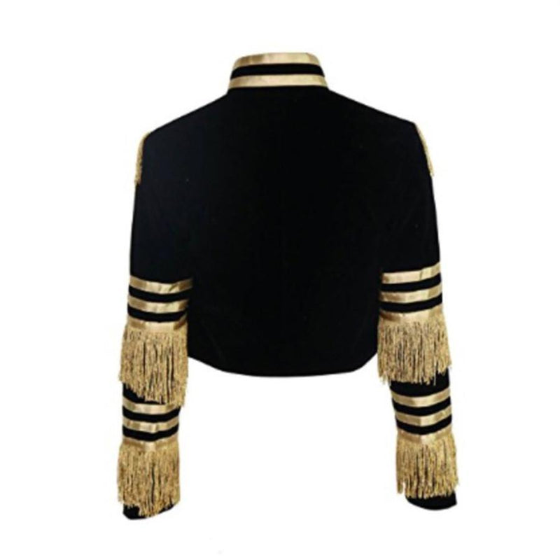 Fashion Stand Collar Fringed Metal Striped Long Sleeve Jackets