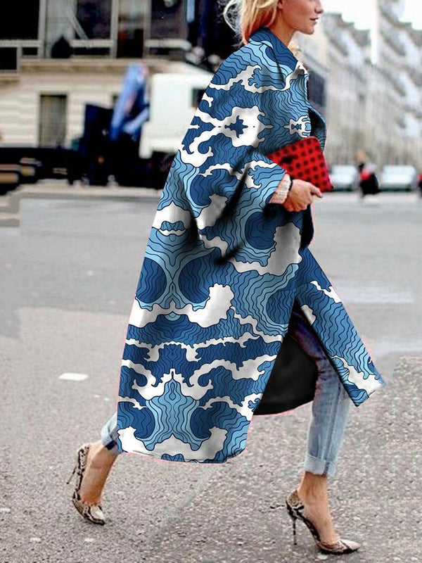 Women's Fashion Printed Color Turndown Collar Loose Coat