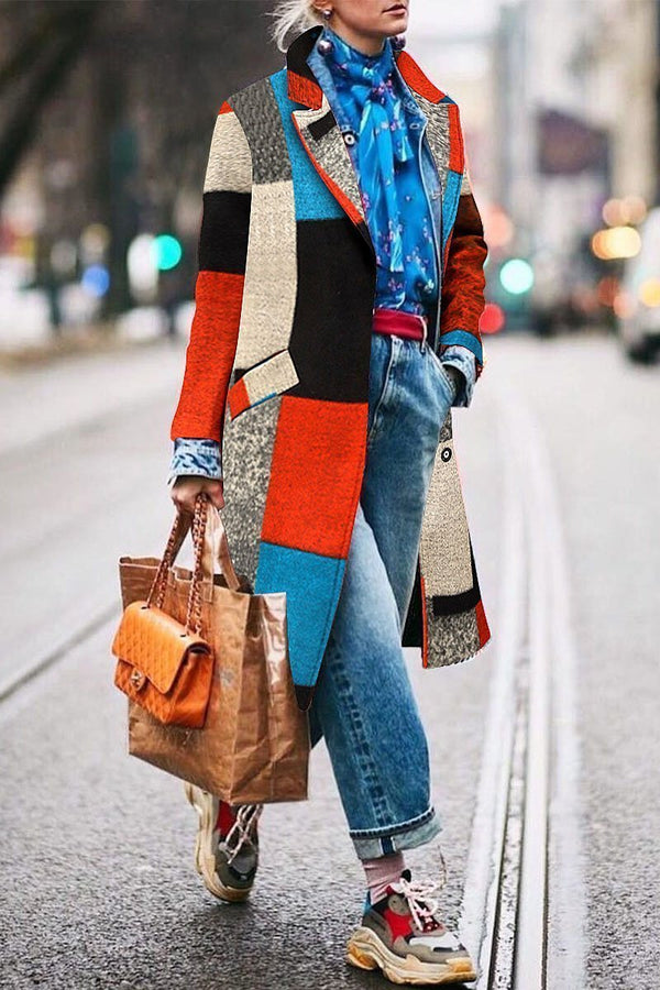 Fashion Lapel Colorful Loose Woolen Long Coat