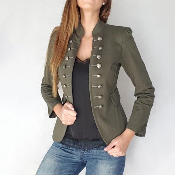 Double-Breasted Solid Color Long-Sleeved Blazer