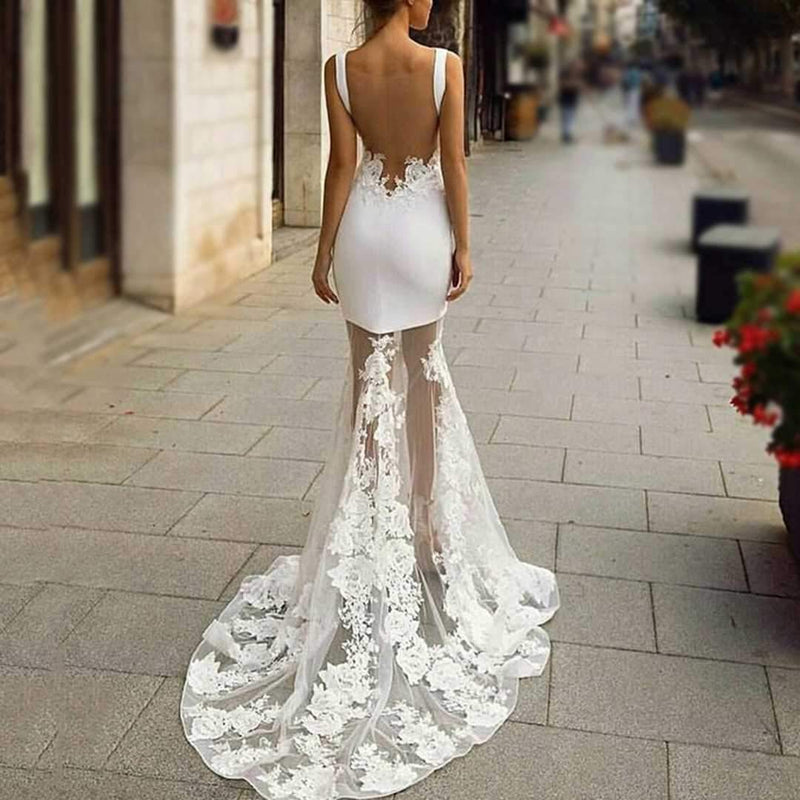Sexy Backless Sleeveless Lace Stitching Evening Dress