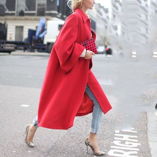 Elegant Lapel Plain Loose Red Woolen Long Coat