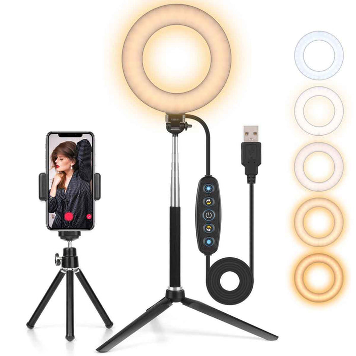 "AIXPI 6.3"" Ring Light with Adjustable Tripod Stand & Phone Holder"