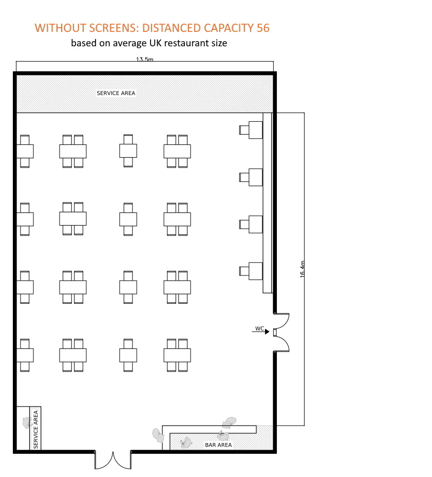 restaurant floorplan with social distancing shows capacity of 56