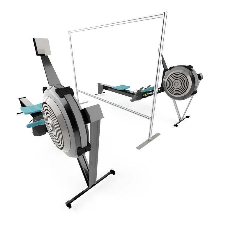 Half panel clear gym screen (between rowing machines)