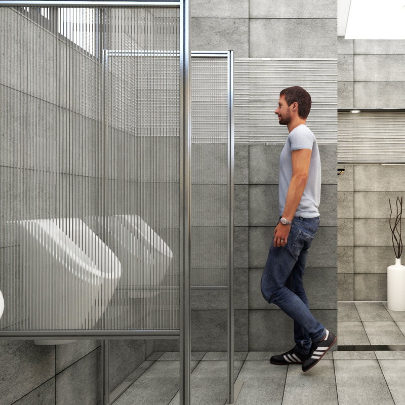 Half panel free-standing privacy screen (between urinals)