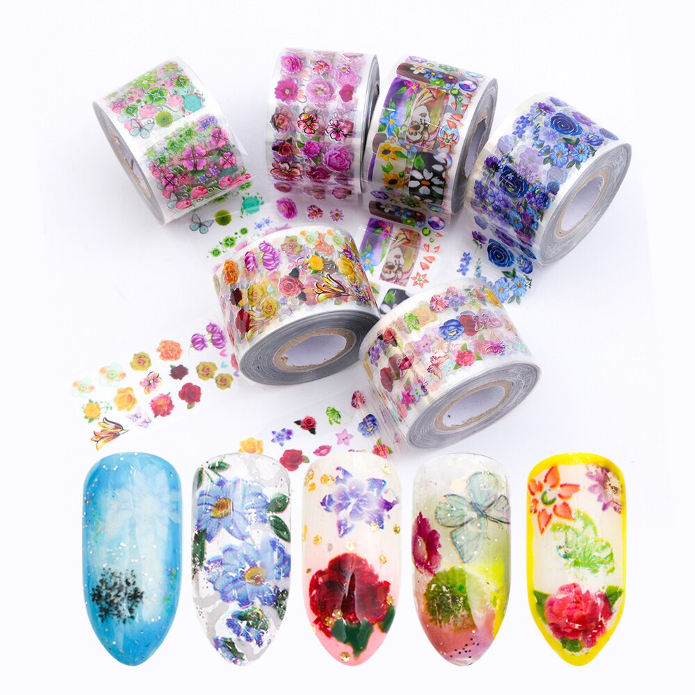 8 Rolls/set Nail Art Transfer Foils Stickers Transparent Base 3.8x120m Colorful Flowers Nail Sliders Accessory Decoration TR690