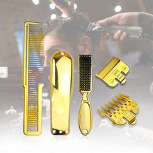Load image into Gallery viewer, Men's Haircut Electrichair clipper Accessories Salon Hair Brush Gold Plating Hairdressing Haircut Comb Set barber tools