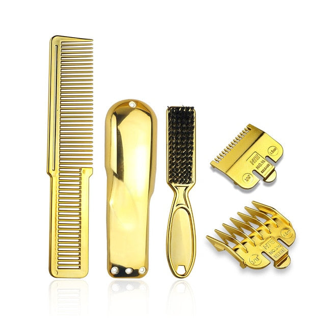 Men's Haircut Electrichair clipper Accessories Salon Hair Brush Gold Plating Hairdressing Haircut Comb Set barber tools