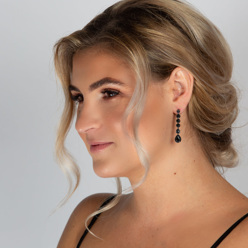 VALENTINA EARRINGS BLACK - thekingcreative event and bridal jewellery
