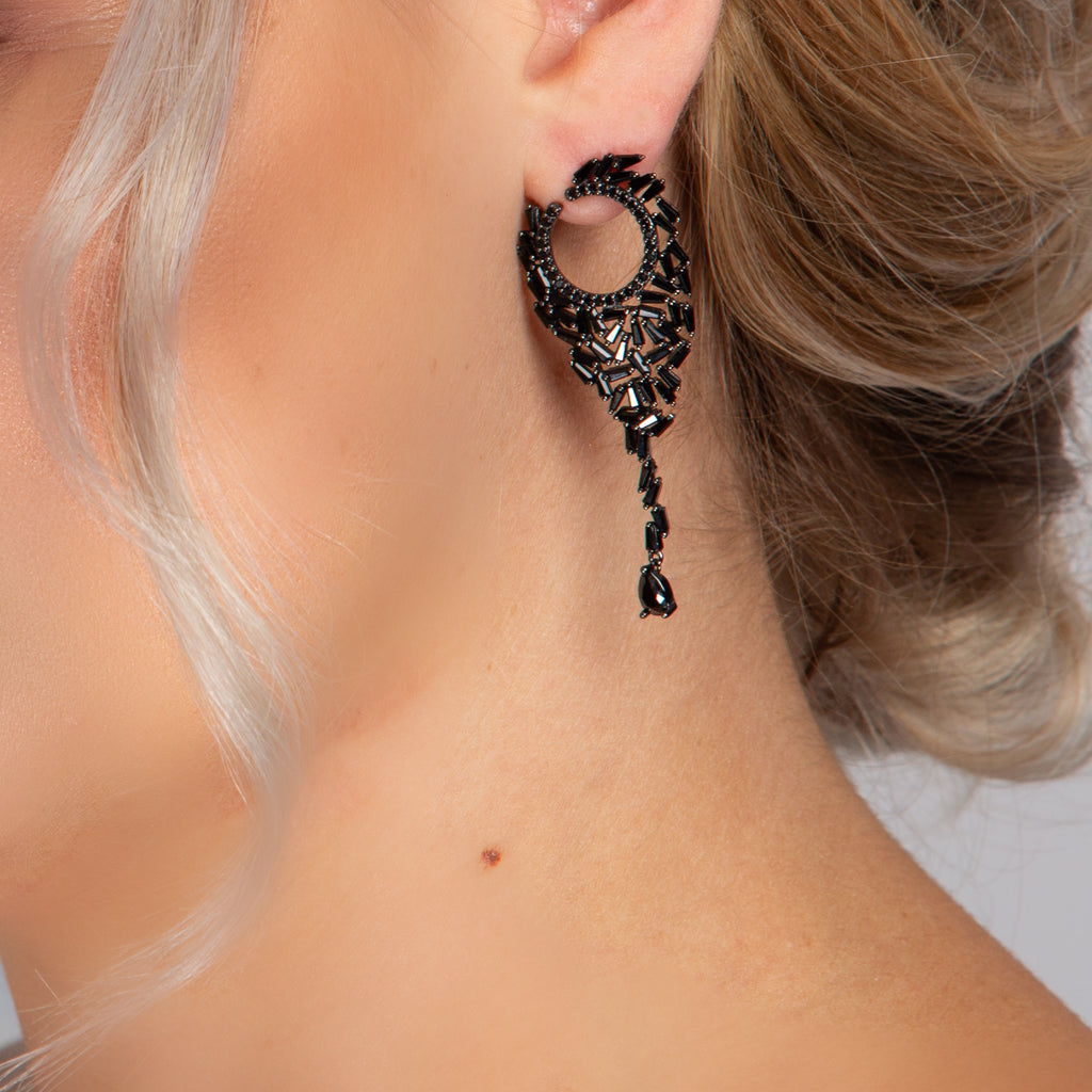 KATIE EARRINGS BLACK - thekingcreative event and bridal jewellery