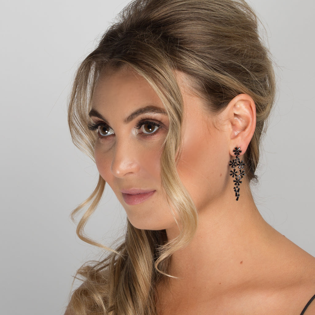 ELLA EARRINGS BLACK - thekingcreative event and bridal jewellery