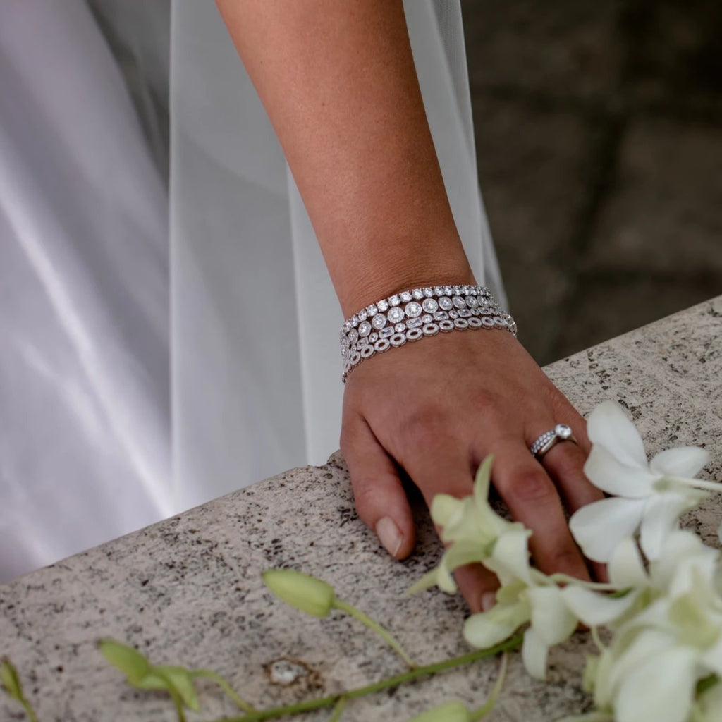 KATHERINE TENNIS BRACELET WHITE - thekingcreative event and bridal jewellery