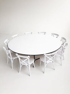 10 Wooden Cross Back Chairs & 1 Round Table - The Setup
