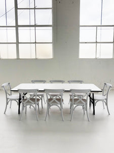 8 Cross Back Chairs & 1 Rectangle Table - The Setup