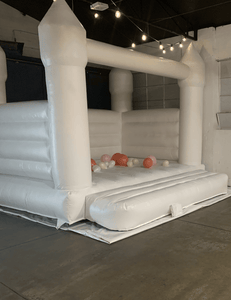 All White Jumping Castle 5m x 4m - The Setup