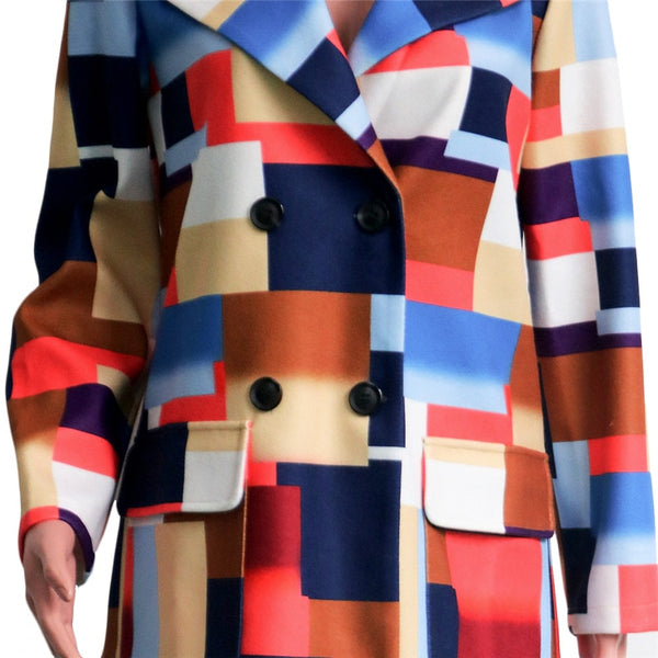 Nyla Patchwork Print Wool Overcoat
