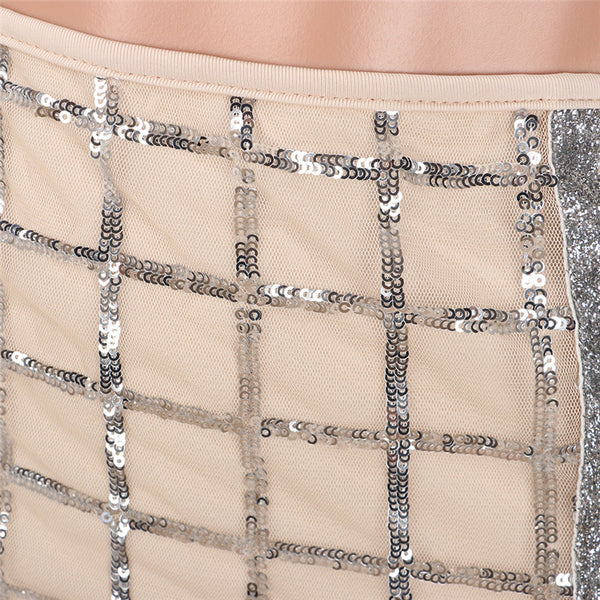Donna Crop Two Piece Sequin Skirt Set