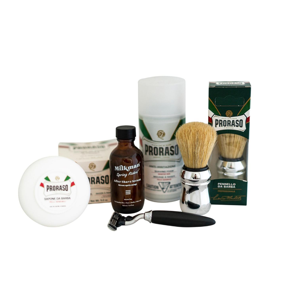Shaving Package includes Free Milkman Toiletries bag