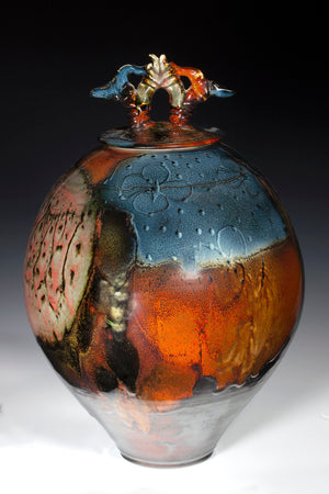 "Large Covered Jar  18.5"" X 12"""