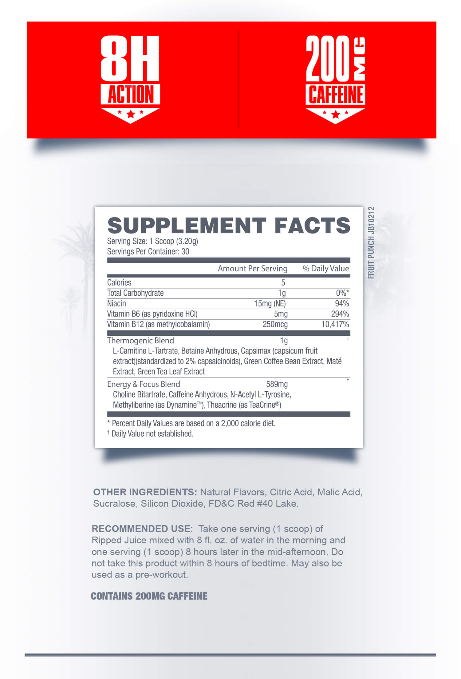 Ripped Juice Powder Supplement Facts - Betancourt Nutrition Weight Management