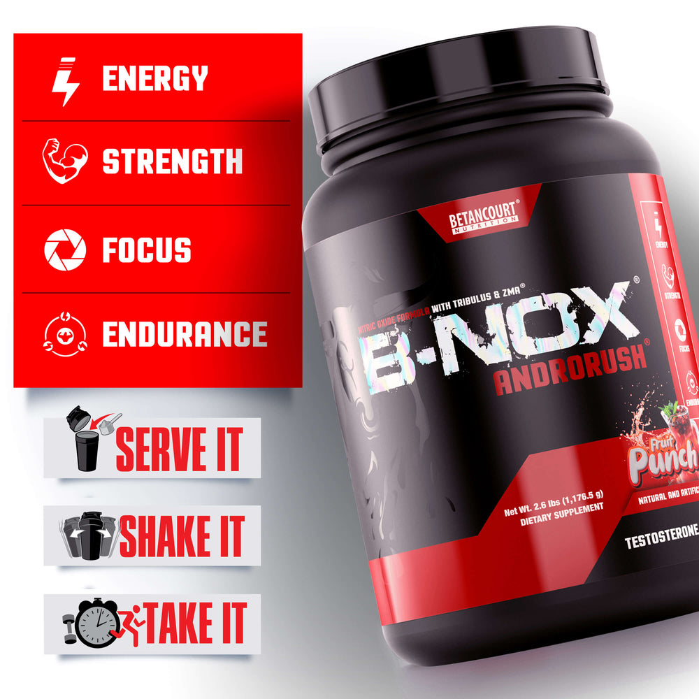 B-NOX ANDRORUSH - 65 SERV <br> PRE-WORKOUT & TESTOSTERONE BOOSTER