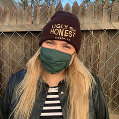 """Ugly But Honest"" Tan on Brown Embroidered Beanie"